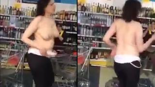 俄羅斯大奶女郎喝到腦袋脫線 直接在超市脫光晃奶!!