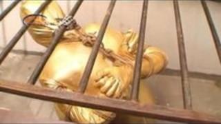 中国タイツボンデージスレーブ猿轡は、束縛、部分的なバージョンをリテーナ入り。