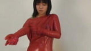 日本のラテックスキャットスーツ20
