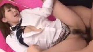 ツインテール制服美人娘と着衣セックス 波多野結衣